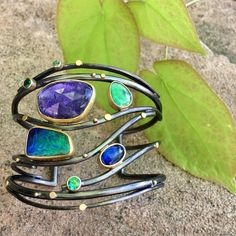 Awesome gemstone cuff bracelet