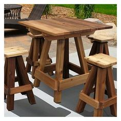 Accent any backyard garden or patio perfectly with the Gronomics Outdoor Picnic Table Bar Top. The table comfortably accommodates four chairs and is the perfect setting for dinner or entertaining outd Patio Bar Set, Pub Table Sets, Wood Bar Table, Diy Table, Cedar Table, Wooden Bar Stools, Diy Pallet Projects, Wood Projects, Pallet Ideas