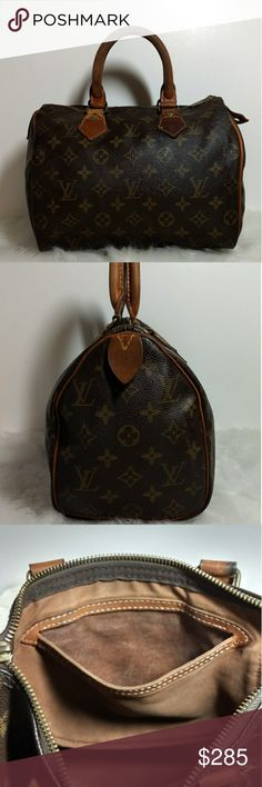 Authentic Vintage Louis Vuitton Speedy 25 Authentic Vintage Louis Vuitton Speedy 25. This purse was made in March of 1986 in Paris. The date code is 863. One rivet has been replaced with a plain rivet as pictured. Zipper pull has been replaced with YKK zipper pull. One small tear in canvas & ink stain on interior lining pictured. Leather tags are in great condition, no piping is exposed. Beautiful purse ready to explore the world with you. Louis Vuitton Bags Hobos