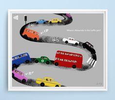 Personalised print 'In the traffic jam' #heywowbooks #kidsbooks #picturebooks #personalisedbooks #giftbooks #childrensbooks #kickstarter #crowdfunding #illustration #vehicles #trafficjam