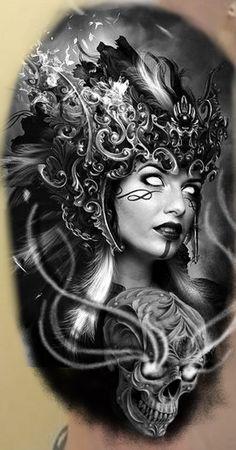 Gray Tattoo, Fallout Art, Neo Traditional, Black And Grey Tattoos, Airbrush, Surrealism, Fantasy Art, Skull, Woman