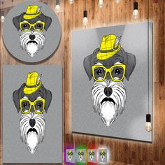 nice Designart 'Schnauzer with Hat and Glasses' Contemporary Animal Art Metal Wall Art Check more at http://hasiera.co.uk/s/furnishings/product/designart-schnauzer-with-hat-and-glasses-contemporary-animal-art-metal-wall-art/