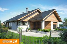 Parterowy dom z zadaszonym tarasem i garażem - Studio Atrium Bungalow, Bamboo House, House Elevation, Good House, Architect Design, Indoor Outdoor, Outdoor Decor, Home Fashion, Exterior Design