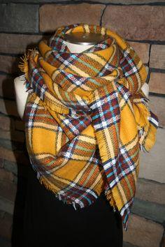 Plaid Tartan Blanket Scarf Mustard Plaid Scarf Christmas Gift Scarves Zara Style Plaid Fall Favorite-Pre-sale-Monogramming Avail by SewPriorAttireMitten on Etsy
