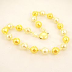 Vintage 1960s Necklace Yellow Mad Men Beads by Revvie1 on Etsy, $10.00