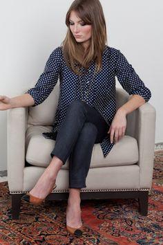 polka shirt, gray minnies, camel heels