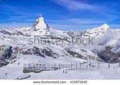 Panorama view of Matterhorn Peak from Gornergrat train station, Zermatt, Switzerland - stock photo