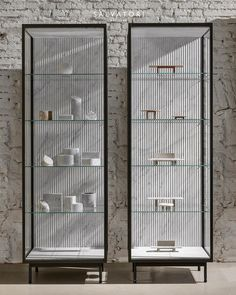 Introducing the Techa glass cabinet or, to use the more creative-sounding Italian word, vetrinetta. Glass and a background in textured… Cabinet Furniture, Home Furniture, Furniture Design, Plywood Furniture, Chair Design, Bookcase Storage, Shelving, Wall Shelves, Cabinet Design
