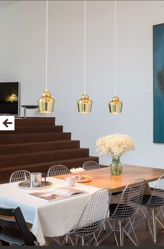 Vitra Table Solvay Jean Prouve + Eames DKR chairs + Artek Golden Bell lamps + Jasper Morrisson Rotary Tray