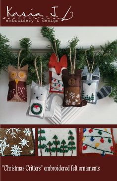 Embroidered felt Christmas ornament; Woodland creature ornament; Digital embroidery pattern; Bear, fox, owl, squirrel, and raccoon ornament