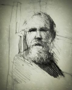 A collection of drawings done by hand and then digitally enhanced. Life Drawing, Figure Drawing, Drawing Sketches, Painting & Drawing, Drawings, Sketching, Old Man With Beard, Old Man Portrait, Man Sketch