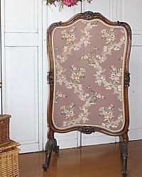 Antique French Louis XV Fire Place Screen Rose Brocade-19th. century, 1800's, hand, carved, silk, upholstery, pink, blue,cream,wood,cabriole,original,fireplace,shell, upholstered,bedroom,livingroom,library
