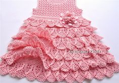 Diy Crafts - VK is the largest European social network with more than 100 million active users. Crochet Baby Dress Free Pattern, Crochet Doll Dress, Crochet Baby Clothes, Crochet Blouse, Crochet Summer Dresses, Crochet Girls, Crochet For Kids, Pink Toddler Dress, Crochet Phone Cover