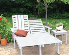 Chaise Lounges -   Our recycled furniture collection includes Chaise Lounge Chairs with 5 reclining positions for sunning or relaxing. Built to accomodate standard cushions; it will lay completely flat.