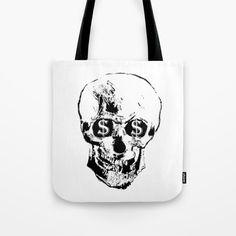 "money TOTE BAG 13"" X 13"" $20.00 ©JoeChanPhotoStudio  #money #skull #art #party #Accessories #fashion #NYC #contemporaryart https://society6.com/product/money652444_bag#s6-7472925p29a26v196"