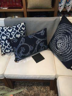 Sunbrella Silver showing how it can lean indigo as an idea for pillows.