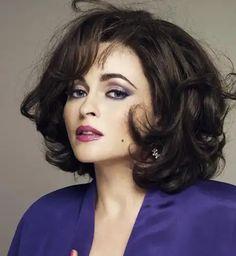 1966 Helena Bonham Carter Wasn't Interested in Jewels Until Playing Elizabeth Taylor Helena Bonham Carter, Elizabeth Taylor, Hairstyles With Bangs, Straight Hairstyles, Medium Hair Styles, Short Hair Styles, Wide Face, Everyday Dresses, Great Hair