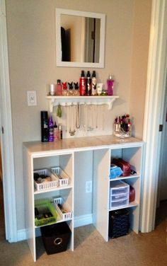 Created for under $50 1-shelf plank 36\'\' 9$ @ Home Depot 1-square mirror 6$ @ Target 1-wooden shelf 3$ @ Thrift Store 2-closetmaid shelves 11$ each @ Walmart 3-1\'x1\' marble tiles 3$ each @ Home Depot 1 pack of cup hooks @ dollar store