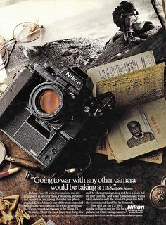 "how comforting! | ""Going to war with any other camera would be taking a risk."" Eddie Adams. F3 ad"