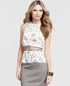 Ann Taylor - Pleated Print Shell, look for a similar pattern, should be easy to sew