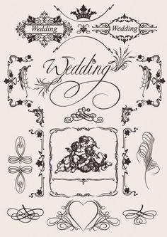 Vintage Wedding lace pattern eps vector Ornaments 無料ウェディング素材(結婚招待状・席次表・席礼) Free Style