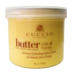 Cuccio Naturale Milk and Honey Butter Blend 26oz (750g) by Cuccio. $30.71. 24-hour hydration.. Time released emollients moisturize the skin every two hours.. Instant, soft to the touch skin with no oily feeling.. A blend of Milk and Honey naturally helps calm, soothe and moisturize the skin with vital nutrients. Instant, soft to the touch skin with no oily feeling. 24 hour hydration: formulated with time released emollients that moisturize the skin every two hours.