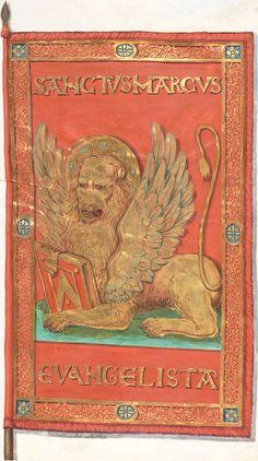Bannière de Venise portant de lion de saint Marc, fabriquée en dehors de Venise (f°031r) -- Le livre de drapeaux de Fribourg (Fahnenbuch/Book of Flags) de Pierre Crolot, 1648, Fribourg.