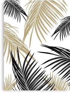 Gold Black Palm Leaves Dream Art Print by anitabellajantz Tropical House Design, Tropical Home Decor, Tropical Houses, Tropical Interior, Tropical Colors, Vegetal Concept, Tropical Furniture, Palm Leaf Wallpaper, Photo Deco