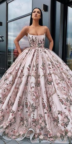 Buy Princess Ball Gown Spaghetti Straps Beads Floral Print Prom Dresses Long Quinceanera Dress Online – SisaStore This dress could be custom made, there are no extra cost to do custom size and color. Pretty Prom Dresses, Elegant Dresses, Fancy Dresses For Weddings, Floral Formal Dresses, Dresses For Prom, Pastel Prom Dress, Pastel Wedding Dresses, Cheap Quinceanera Dresses, Straps Prom Dresses