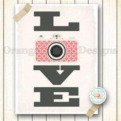 Love Photography  Camera  9x12 art Print by OrangeWillowDesigns, $18.00
