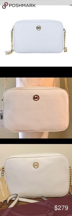 """NWT Michael Kors fulton leather crossbody bag!! NWT Michael Kors stunning Fulton Leather crossbody bag!! The color is """"optic white"""".  This bag has super soft leather that you will fall in love with!!  Measures 10"""" in length, 7"""" in height, and 2"""" in width.                                                       The crossbody strap is adjustable Michael Kors Bags Crossbody Bags"""