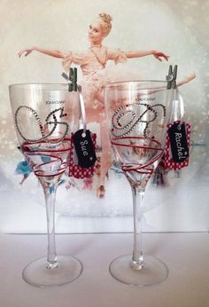 Decorated wine glass made for my daughters dancing teacher's end of term present's.