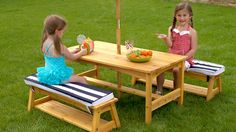 KidKraft Outdoor Table and Bench Set with Cushions and Umbrella 00106 - kids furniture Kids Outdoor Table, Kids Picnic Table, Kids Outdoor Furniture, Outdoor Tables And Chairs, Garden Table And Chairs, Backyard Furniture, Kid Table, Picnic Set, Kids Furniture