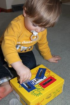 Tot School:  ideas using shoe boxes, muffin trays and paper towel tubes