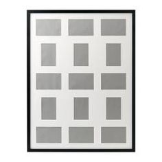 "IKEA - RIBBA, Frame for 15 pictures, , Holds 1 picture 23x31"" or 9 pictures 4x6"" and 6 pictures 3½x5"".Can be hung horizontally or vertically to fit in the space available.Can also be used without the mat for a larger picture.The mat is acid-free and will not discolor the picture.Front protection in plastic makes big frames lighter and safer to use."