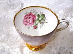 Clare Tea Cup Vintage Bone China Pink Tulip Shape Cottage Chic // Numbered // Made in England // Vintage 1950s by SueEllensFlair on Etsy