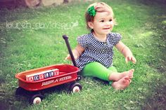 Unique 1 year old photo ideas. 2 year old photo ideas. Toddler girl photos. Name in wooden blocks. Vintage summer photos with Radio Flyer wagon. Lauren Davidson photography.
