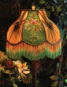 Victorian Neoclassic Embroidered Velvet Flower Lamp Shade,16''D x 14''H