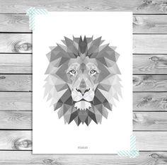 Druckbare Kunst-Plakat-Druck - Schwarz Weiß Grau Löwe Illustration Geometrische Tiere Cool Kids Room Interior Wandgestaltung