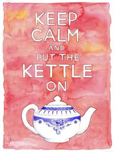 "aaaahhhhhhh -- ""put the kettle on"" watercolor by artist, Maia Kobabe"