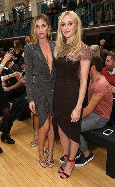 Abbey Clancy and Fearne Cotton attend the Julien Macdonald show during London Fashion Week Spring/Summer collections 2017 at Seymore Leisure Centre on September 17, 2016 in London, United Kingdom.