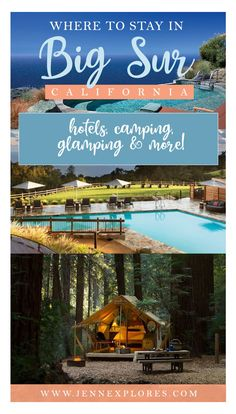 Where to stay in Big Sur, California: Hotels, Camping, Glamping and more. Your guide to where to stay during a trip to Big Sur, from the best affordable budget accommodation, to the best luxury resorts. #bigsur #california