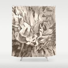 Painted Peony Sepia Cocoa Shower Curtain