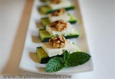 Cucumber, Feta and Walnut appetizer (Persian) Bite Size Appetizers, Appetizers For Party, Appetizer Recipes, Tapas, Feta, Iranian Food, Food Decoration, I Love Food, Finger Foods