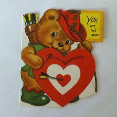 1950s Vintage Valentine card die cut Robin Hood bear archer by Whitman by KerrysBungalow, $5.00
