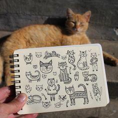 Day 25 of #The100DayProject  Cat. #100DaysOfDrawingThingsInDifferentVariations #yuliiabahniuk #illustration #drawing #tribal #cat   #animal #ethnic #ornament #doodling #doodle