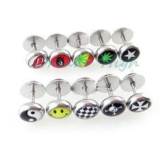 New Arrival Oil Design Earring Stud Ear Ring Nail Expander Logos  Body Piercing Jewelry Barbell For Women Girl 1.2mm Hot Sale