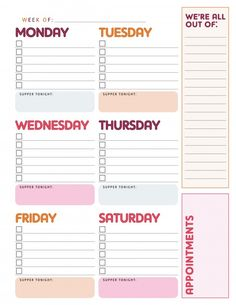 free printable weekly to do list'
