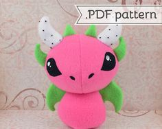 Dragon Fruit Plush .pdf Sewing Pattern with Wings and Horns