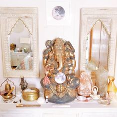 My altar is at the center of my sacred space. This is where I meditate, connect to my spiritual side, and rejuvenate. Meditation Corner, Meditation Room Decor, Meditation Altar, Spiritual Meditation, Meditation Space, Spiritual Decor, Zen Space, Zen Room, Home Altar